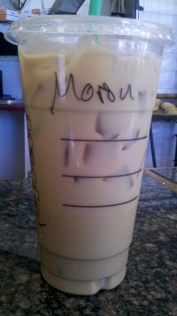 """Moron! Large iced latte for Moron!"""